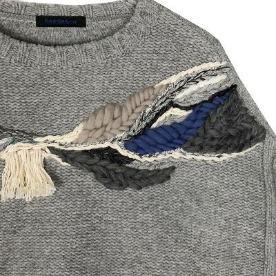 unbalance knit top & damaged denim pants